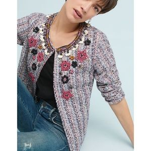 NWT, Anthropologie Suzy Embellished Tweed Jacket
